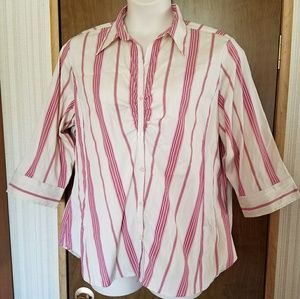 Theatrical blouse in candy stripes plus size